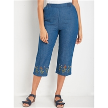 Embroidered Hem Denim Crops