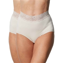 2 Pack Delicate Waist Lace Trimmed Brief
