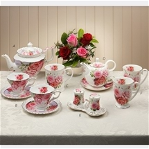 Elegant Pink Roses Bone China