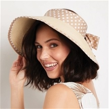 Beige Polka Dot Roll Up Hat