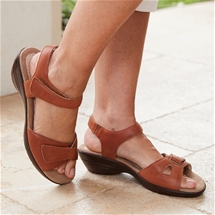 Genuine Leather Comfort Sandal Brown