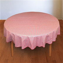 Gingham Wipe Clean Tablecloth - Round