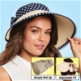 Navy Polka Dot Roll Up Hat_D1010_0